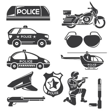 motorcycle officer: police icons Illustration