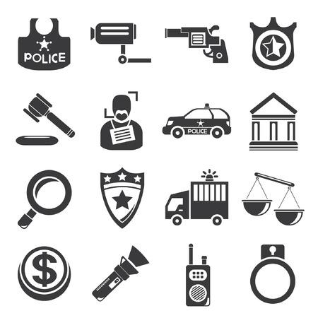 courthouse: police icons Illustration