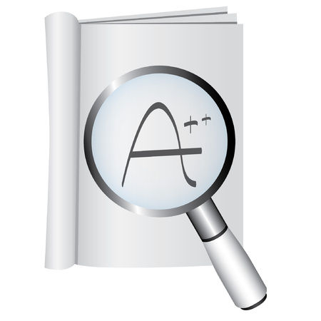 scrutiny: magnifying glass and book, excellence concept