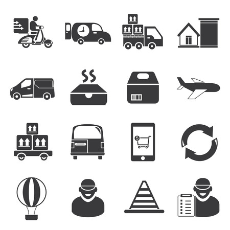 haul: delivery service, shipping service icons Illustration