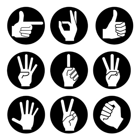 two thumbs up: hand icons, hand buttons
