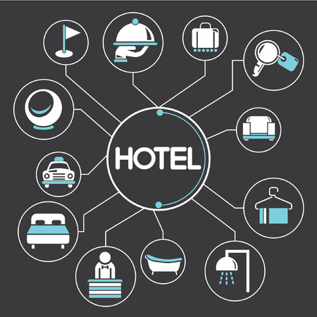 hotel concept mind mapping, info graphics Vectores