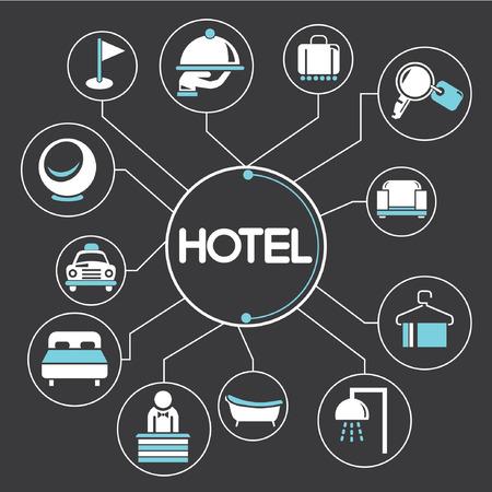 hospedaje: concepto de hotel de mapas mentales, información gráfica Vectores