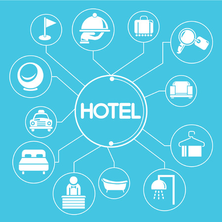 hotel concept network, info graphics, blue theme