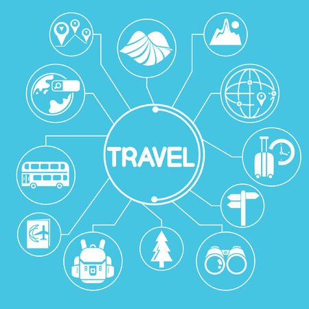 travel network, mind mapping, info graphic, blue theme Vector