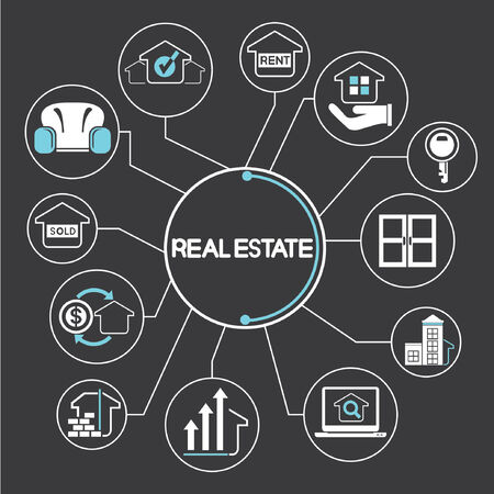 real estate agent: real estate concept network, info graphics