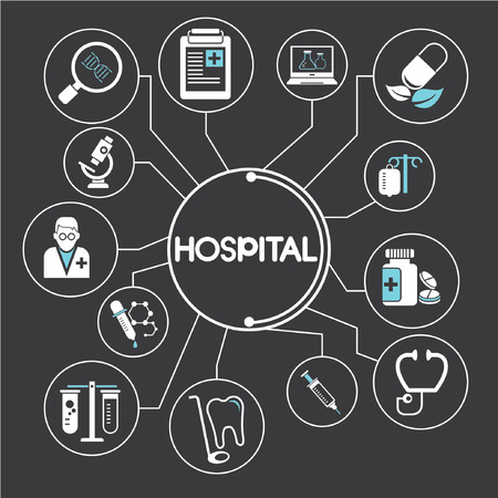 medical care: hospital network, info graphics