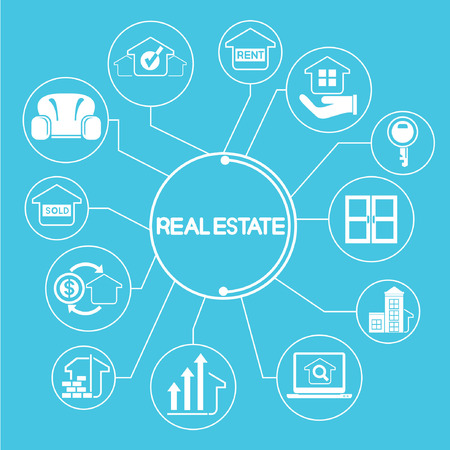 link building: real estate concept network, info graphics, blue theme