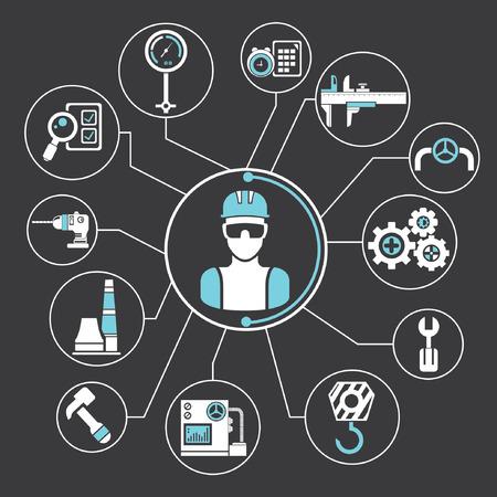 engineering network, industrial info graphics