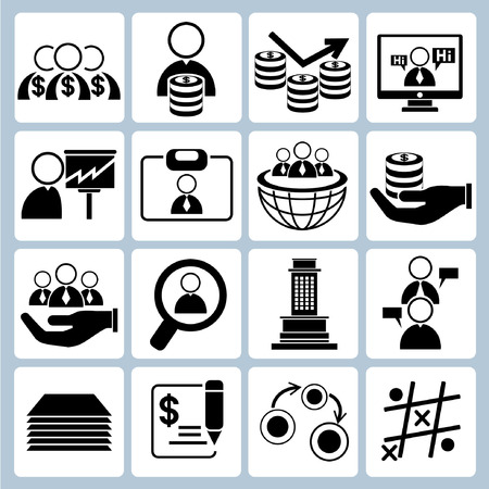 rotate: business management icons Illustration
