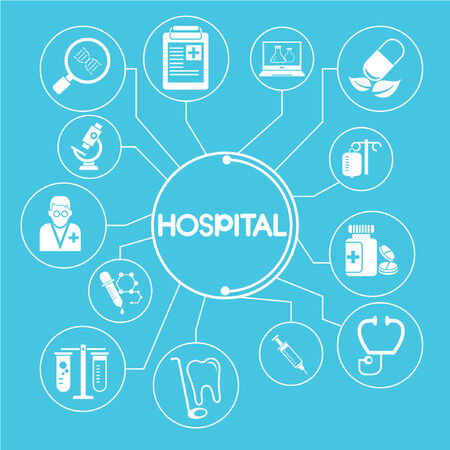 hospital network, info graphics Vector