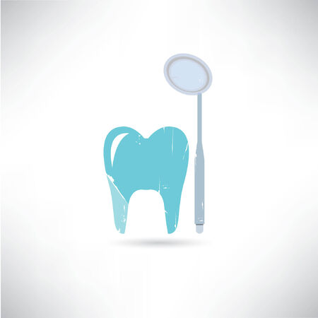 dental mirror: tooth and a mouth mirror Illustration