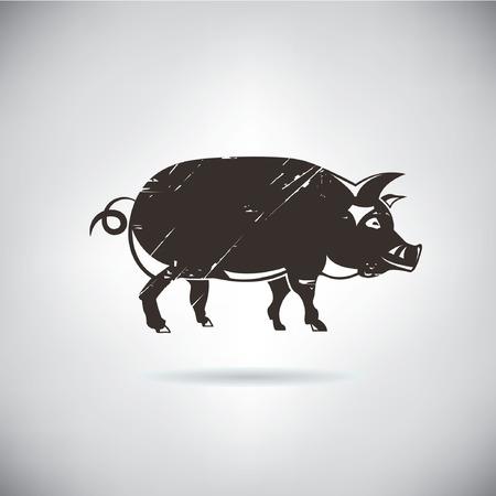 retro pig Illustration