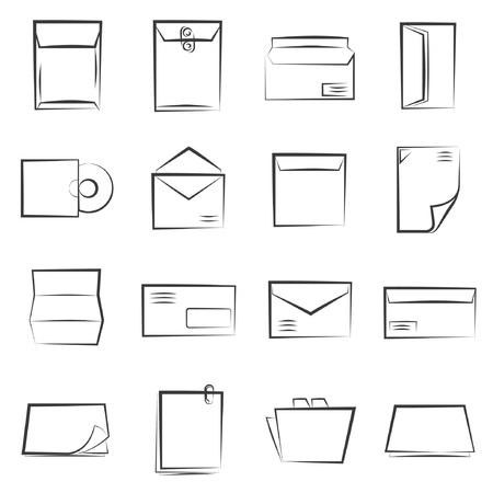 sketched icons: iconos de letras esbozadas