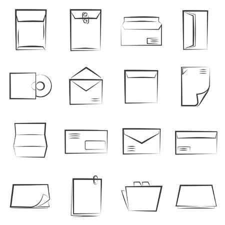 describe: sketched letter icons