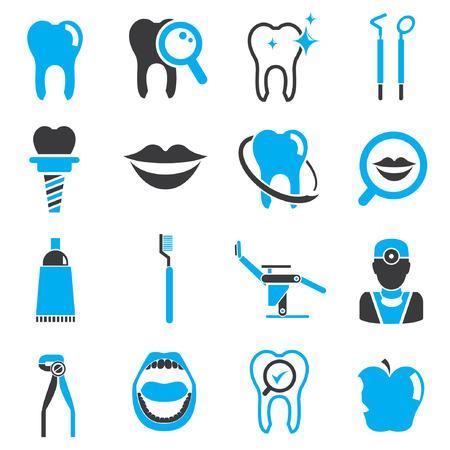 tandheelkundige iconen, zwart en blauw thema Stock Illustratie