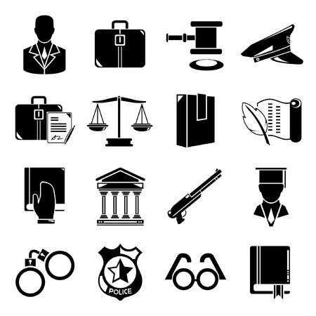 criminal justice: law icons Illustration