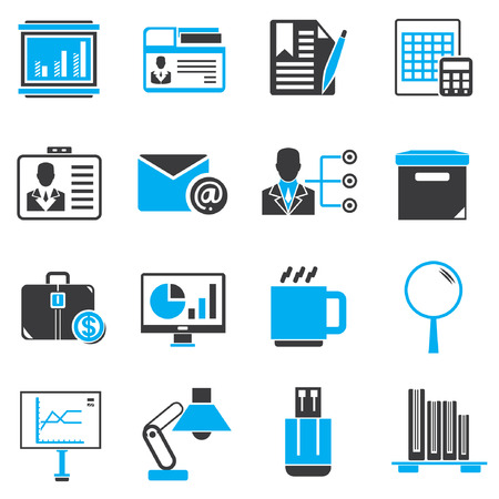 office icons: office icons, black and blue theme