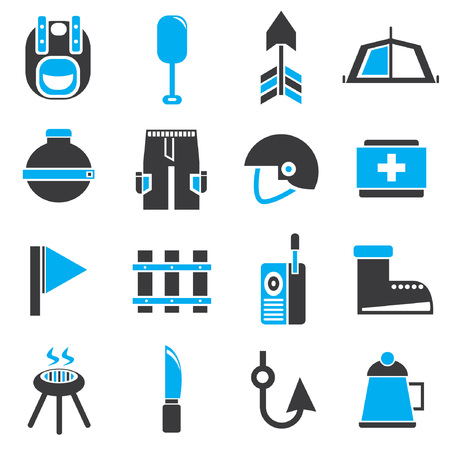 roam: camping icons, black and blue theme