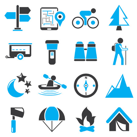 camping icons, black and blue theme Vector