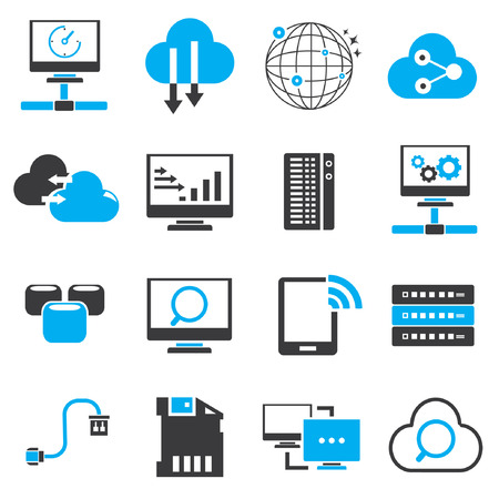 cloud computer: network icons, black and blue theme