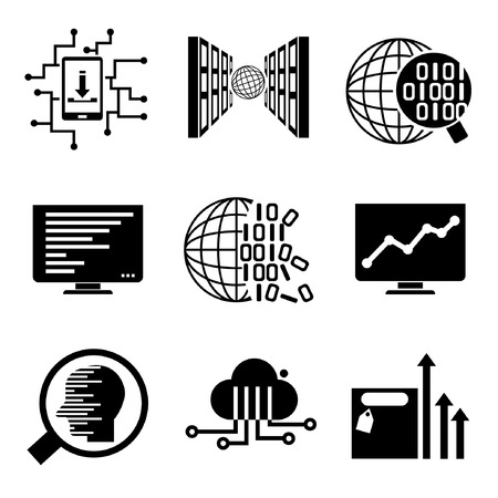 data analytics, data analysis, network icons Vector