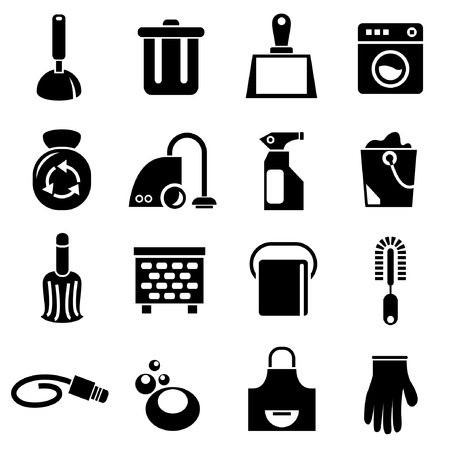 household chores: cleaning tools icons, household icons Illustration