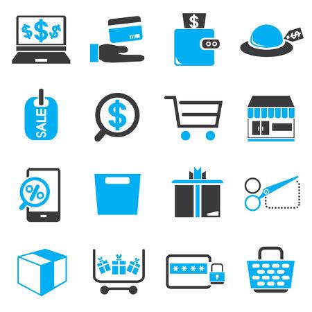 e commerce: winkelen, e-commerce pictogrammen, zwart en blauw thema