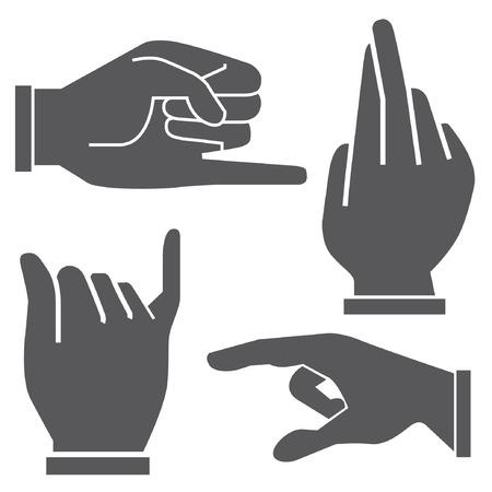 dedo me�ique: conjunto de la mano de diferentes posturas Vectores