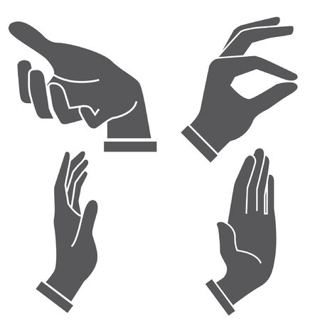 give hand: set of hand in different postures