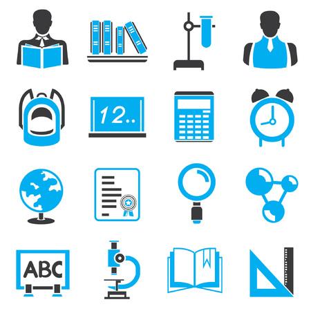 school icons, blue theme