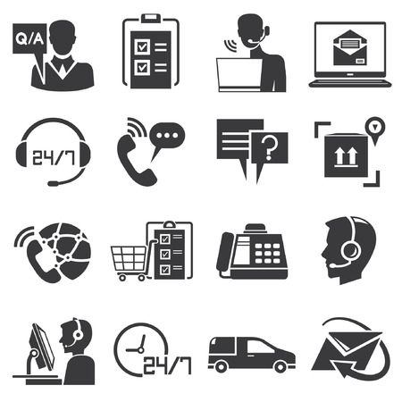call center female: call center service icons Illustration