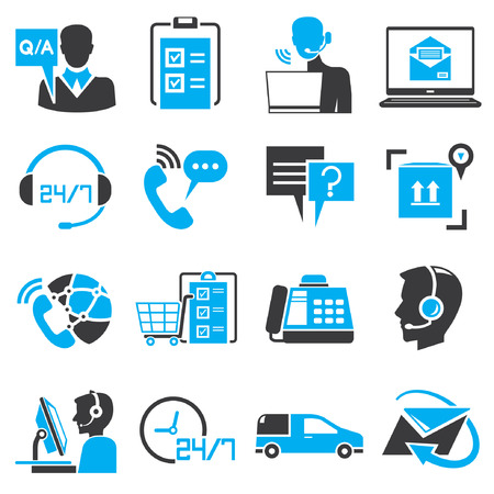 customer service phone: call center service icons, blue theme