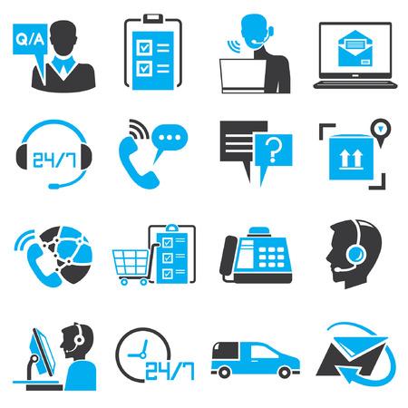 dienstverlening: call center service pictogrammen, blauw thema Stock Illustratie