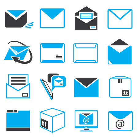 letter icons, email icons, blue theme Vector