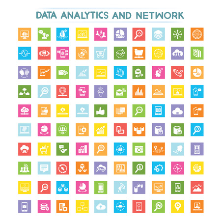 data analytics, data analysis, network, information technology icons Vector