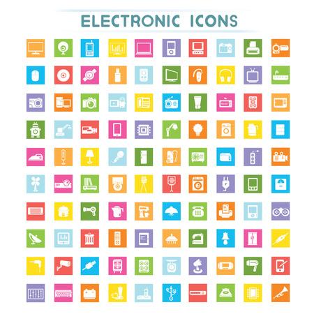 enchufe de luz: iconos electrónicos
