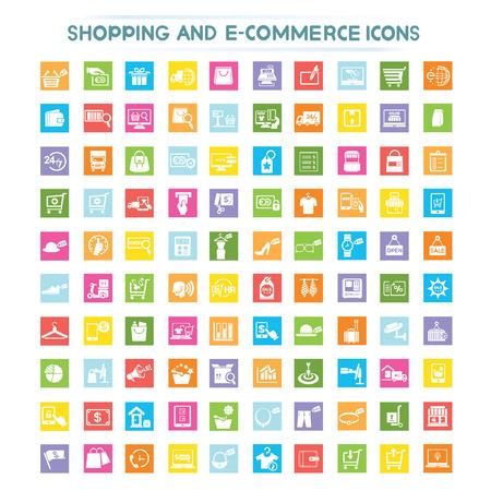 e commerce: winkelen, e-commerce pictogrammen Stock Illustratie