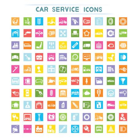mecanico automotriz: Iconos de servicio de coche Vectores