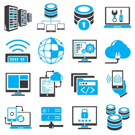 データベース、ネットワーク アイコンは、青色のテーマ  イラスト・ベクター素材