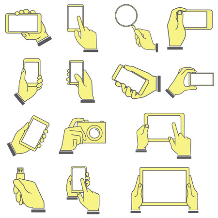 hand holding mobile smart phone, smart devices, cartoon style Vector