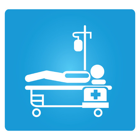 patient in bed: cama del paciente Vectores