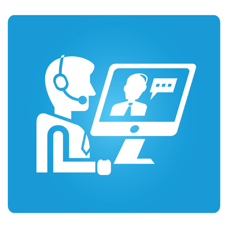 chat button: online meeting, call service Illustration