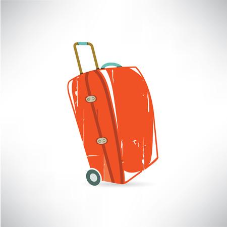 red travel bag, retro suitcase  Vector