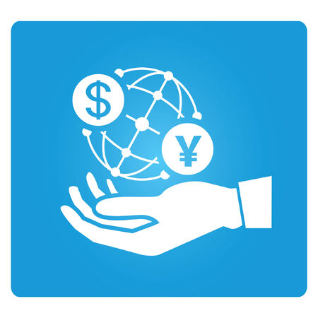 hand holding globe: hand holding globe with currency