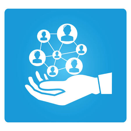 manage: hand holding people, social network concpt