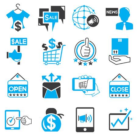 e commerce: marketing pictogrammen, e commerce iconen, blauw thema