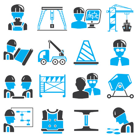 construction icons, blue theme Vector