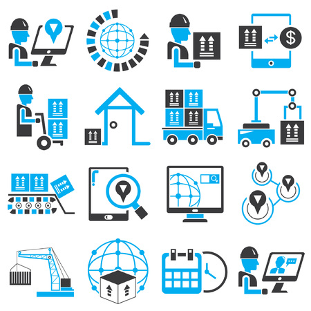 good time: shipping service icons, blue theme Illustration