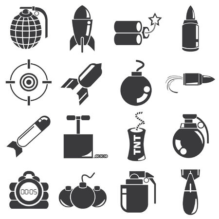 hazard damage: weapon, bomb icons Illustration